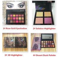 Wholesale Eye Shadow 3d - 18 Colors Rose Gold Textured Eye Shadow Palette & 3D HIGHLIGHTER 4 Colors Gold Pink Sands & Solstice Highlighter & Desert Dusk Palette