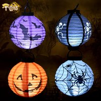 Wholesale Paper Lanterns Bulbs - Halloween Pumpkin LED Lights Lamp Paper Lantern Spiders Bats Skull Pattern Decoration Supplies Bulbs Ballons Lamps For Halloween CPA928
