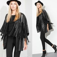 Wholesale Hot Black Leather Jackets Women - 2016 Spring Autumn New Hot Fashion Women Hollow out Coat Slim Tassel PU Leather Jacket Lady Loose Black Outerwear