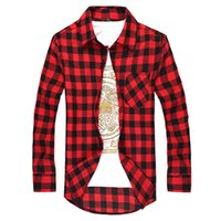Wholesale Stylish Shirt Dresses - Fashion Men's Long Sleeved Flannel Casual Plaid Shirt Men Checkered Dress Shirts Slim Stylish free shipping