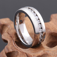 Wholesale Eternity Ring Stainless - Unisex Wide 8mm stainless steel engagement rings Eternity Rings Band CZ Silver Wedding Charm Elegant silver ring MR55