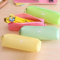 Cute Candy Color Bow Jelly Silicone Waterproof Pencil Case Papelaria Storage Organizer Bag School Office Supply