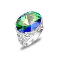 Atacado 925 Sterling Silver Natural Mystic Topaz Ring Gemstone R0650