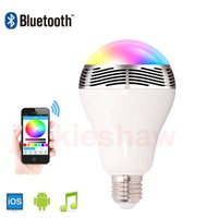 Wholesale E27 Led Iphone - Music Bulb Light Wireless Bluetooth Audio Speaker Lamp 3W E27 LED RGB Light Color Changing via Iphone Android Mobile WiFi App Control