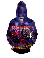 Wholesale Collar Designs Sweaters - New Hot Mens Jackets jacket Zipper personalized Iron Maiden Number Of The Beast Design 3D Print Women Sweater Hoodies & sweatshirt Plus Size