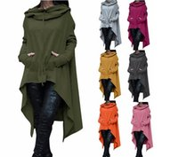 Mode Femmes Solid Color Draw Cord Coat Long Sleeve Loose Casual Poncho Coat Hooded Pullover Long Hoodies Sweatshirts