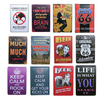 Wholesale Metal Wall Paintings - wholesale 20x30cm LIFE IS WHAT YOU MAKE IT Route 66 beer poster for bar pub wall decor vintage metal painting tin sign plaques