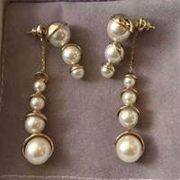 Wholesale Vintage Pearl Dangle Earrings - new design luxury gold pearl long earrings sweet fashion women earrings vintage earrings simple elegant Long dangle pearl beads jewelry