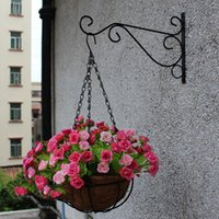 Wholesale Hanging Tool Rack - Wholesale- Plant Hanger Iron Balcony Railings Garden Wall Hook Hanging Plant Hook Shelf Flowerpot Rack Garden Hooks for Hanging Plants