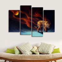 Wholesale oil painting landscapes dark - 4pcs set Unframed Dark Tiger and the Moon Print On Canvas Wall Art Picture For Home and Living Room Decor