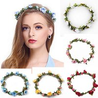 Wholesale Wreath Wholesalers - Decorative Flowers Wreaths Bride Bohemian Flower Headband Wedding Floral Garland Hair Band Headwear Hair Accessories 10 Color CB143