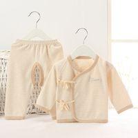 Wholesale kimono pants - Hooyi Newborn Clothes 100% Cotton Soft Stripe Baby Clothing 2pcs Set Boys Sleepwear Kimono Cardigan Jumper Pant Suit Pajamas Set