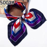 Wholesale Silk Satin Head Scarves - Wholesale- Soft Faux Silk Square Scarf Bandanas Head Wrap Shawl Satin Stewardess Kerchief