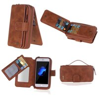 Wholesale Pu Leather Pouch Pocket Portable - For iphone 6S 7 Portable Magnetic Detachable Pouch Purse Card Wallet Bag TPU inner BRG Mirror For iPhone6 7 plus Samsung Galaxy S7 edge