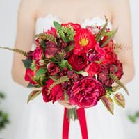 el buketi kırmızı gül toptan satış-Modabelle Yapay Gül Gelin Kırmızı Buket El Holding Mariage Düğün Buket Gelinler Çiçek Kilise Süslemeleri Için