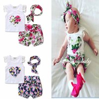 Wholesale Shirt Bloomers - 2017 Summer New Children Girls Floral 3piece Sets Ins Rose Floral Lace Tops Shirt Vest + Shorts Pants Bloomers + Bow Headband Cute B4646