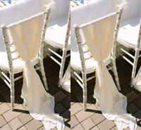 Wholesale Black Chair Cover Sashes - Romantic Flowy Wedding Chair Sashes Wide And Long 30D chiffon Chiavari Chair Covers Custom Made Cream Ivory White 200*75 CM