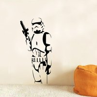 Wholesale Sword Paper - STAR WARS Stormtrooper Vinyl Wall Stickers Gun Sword Wall Decals Home Decor Star Wars Character Figure Wall Decal Free Shipping