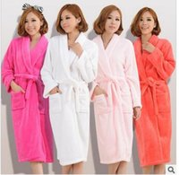 Wholesale Thick Nightgown - Wholesale- Hot couple autumn and winter thick cashmere nightgown bathrobe men and womens long sleeve pajamas warm solid color Robes