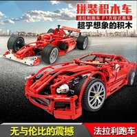 Plastics Unisex 5-7 Years New Decool Enzo 599GTB F1 Formula One racing Toy building blocks 3333 3334 3335 Bricks Supercar Assembled car model boy gift