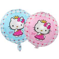 hello kitty doğum günü balonu toptan satış-18 inç yuvarlak hello kitty folyo balonlar parti doğum günü dekorasyon balonlar çocuklar için şişme karikatür helyum balon toptan damla nakliye