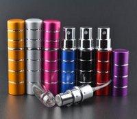 aluminiumpumpen flaschen großhandel-Neue 5 ml pumpenheftung Glasparfümflasche Zerstäuber eloxiertes Aluminium Leeres Glas Nachfüllbares Spray