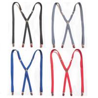 Wholesale Skinny Braces - Wholesale-Mens LARGE SIZE Suspenders Adults Skinny Slim Suspenders Clip-on X-Back BLACK Braces Elastic Suspenders 1.5X120CM