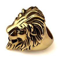 Wholesale Stainless Ring Lion - Gold Plated Unique Stainless Steel Exaggerated King Face RING Women Men Bling Gothic Lion Head Rings Hip Hop Jewelry Gifts