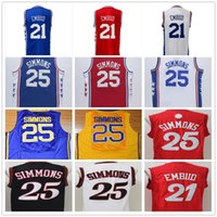 Wholesale Mix Order Color - Cheap Wholesale #21 Joel Embiid Jersey Blue White Red Color 25 Ben Simmons 2017 Christmas Day Red Basketball Jerseys Mixed Order