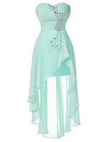 gece elbisesi geri toptan satış-Şifon Artı Boyutu Kısa Pembe Gelinlik Modelleri Sevgiliye Ön Uzun Geri Akşam Elbise Soluk Turkuaz Gece Örgün Parti Konuk Törenlerinde