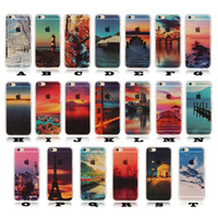 Wholesale Colours Phone Accessories - Coloured Drawing Printing Scenery Case For iphone 5 6 7 Soft Clear Rubber Gel Back Cover Cell Phone Accessories