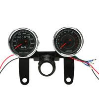 tachohalterung großhandel-Universal LED Motorrad 13000 RPM Tachometer + Kilometerzähler Messgerät Mit Halterung für Motorrad