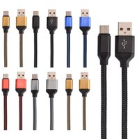Wholesale oneplus phone online - 1m Fabric Braided Type C Micro V8 Cable Nylon Line Metal Plug Type C USB for MacBook Xiaomi C Letv Phone Oneplus etc
