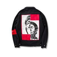 Wholesale character coats - dongguan_wholesale in stock 1000pcs Jackets High Street KANYE Cowboy Jacket East Gate Cowboy Coats Character Embroidery Alphabet 2018
