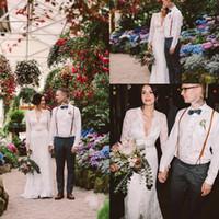 kate middleton uzun elbiseler toptan satış-Jenny Packham yılında Kate Middleton Dantel Boho Uzun Kollu Gelinlik ile Kemer Zarif V Boyun Gelin Gelinlikler 2020