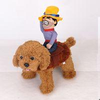 parti kovboy kostümü toptan satış-Sürme At köpek kostüm kovboy şapkası ile küçük köpek için büyük köpek pet kedi komik golden retriever Cadılar Bayramı Partisi kostüm giysi