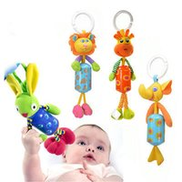 Wholesale Wholesale Deer Rattle - Wholesale- 1pc Animal Handbells Musical Developmental Toy Bed Bells Kids Baby Soft Toys Rattle elephant lion deer and rabbit
