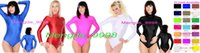 Wholesale body suit cosplay - New 22 Color Lycra Spandex Catsuit Costumes Unisex Sexy Short Body Suit Costumes Back Zipper Halloween Cosplay Suit M023