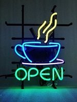 "Wholesale Night Light Shop - 17""x14"" Coffee Cafe Tea Shop Custom Handmade Glass Tube Neon Light Sign"