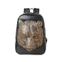 Wholesale Cute Girly - Cool creative 3D tiger rivet leather girly backpacks for high school cute black and white backpacks