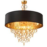 luminária pendente de luz negra venda por atacado-Lustres modernos com Black Drum Shade pingente de luz anéis de ouro cai em luminária de teto redondo
