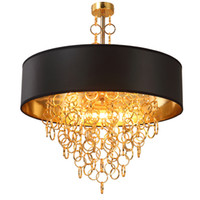 Wholesale Round Chandelier Shades - Modern Chandeliers with Black Drum Shade Pendant Light Gold Rings Drops in Round Ceiling Light Fixture