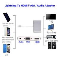 Wholesale hdmi vga audio - 2017 Hot New Dock To HDMI VGA Audio Adapter Cable For phone 5 6 6plus 7 7plus  i pad pro i pod