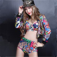 Wholesale Sexy Satin Costumes - (jacket+top+shorts) sexy slim female costumes hip hop DJ DS stage costumes singer dancer nightclub bar performance wear show clothing wears