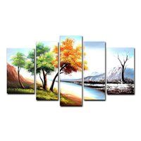 Wholesale Wood Picture Frames Paint - Landscape Oil Painting Season Tree Painting Wall Art Home Decor 5 Piece Canvas Art Wood Frame Inside Ready to Hang