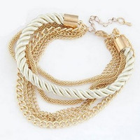 Wholesale ms wind - Charm BraceletsWoven braceletmultilayer Europe and the United States wind metal alloy Women's accessories Women's bracelet Ms bracelet A soc