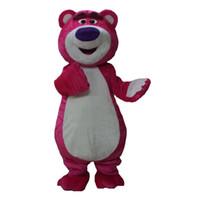 mascotes de urso adulto venda por atacado-Rosa Urso Mascote Dos Desenhos Animados Lotso Urso Trajes Halloween Mascotes Adultos Trajes Fancy Dress Frete Grátis