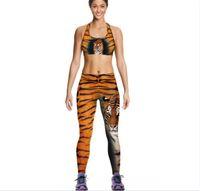 leoparddruckwestefrauen großhandel-Frauen Tiger Camisoles Gelb Leopard Tanks Shirts Laufen Singulett Weste Drucken Gym Sport Tank Tops Digitaldruck Sleeveless A064
