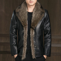 Wholesale Mens Leather Jacket Real Fur - Mens Winter Coat Leather Jackets Real Raccoon Fur Cashmere Coat Male Snow Clothes Faux Fur Suede Brand Clothing Large Size 2016