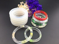 Wholesale Epoxy Bangle - Soft Silicone Jewerly Mould Epoxy Bracelet Bangle Mold Hand Resin Craft Jewelry Making Mold 2 styles